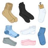 Vector Cartoon Set of Different Style Socks. Vector Cartoon Set of Color Different Style Socks Stock Image