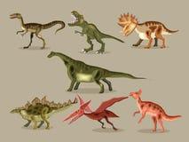 Vector cartoon  set of a dinosaurs. Cute poster. Vector cartoon  set of a dinosaurs. T-REX,  Tyrannosaur, Velociraptor, Triceratops Royalty Free Stock Photos