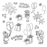Vector cartoon set of elements for the birthday celebration. Children with balloons and sweets in hands, fireworks. Vector cartoon set elements for the birthday Royalty Free Stock Photo