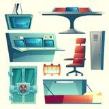 Vector set with equipment for underground bunker vector illustration