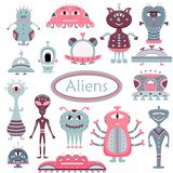 The vector cartoon set with flat aliens. Funny characters royalty free illustration