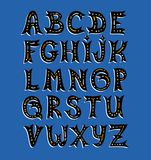 Vector cartoon set of funny Latin alphabet. Set of hand drawn  uppercase letters  isolated on dark blue  background. Stock Photo