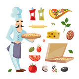 Vector Cartoon set with ingridients of pizza Royalty Free Stock Photo