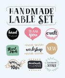 Handmade, crafts workshop, made with love icons. Vector cartoon set of labels: handmade, crafts workshop, made with love icons stock illustration