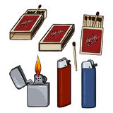 Vector Cartoon Set of Matches, Matchboxes and Lighters. Royalty Free Stock Photo