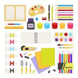 Vector cartoon set painting tools royalty free illustration