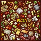 Vector cartoon set of Pizzeria objects and symbols Stock Illustration
