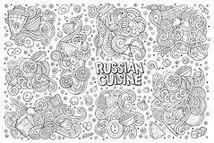 Vector cartoon set of Russian food doodles designs. Vector line art hand drawn doodle cartoon set of Russian food theme items, objects and symbols Stock Photography