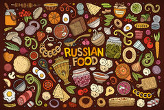 Vector cartoon set of Russian food objects. Vector hand drawn doodle cartoon set of Russian food theme items, objects and symbols Stock Photos