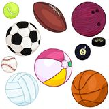 Vector Cartoon Set of Sport Balls. Vector Cartoon Color Set of Sport Balls Royalty Free Stock Image