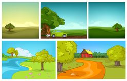 Vector cartoon set of summer backgrounds. Hand drawn vector cartoon set of summer landscapes. Colourful cartoons of summer backgrounds. Cartoon background of royalty free illustration