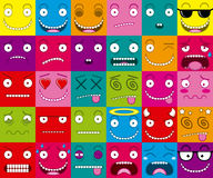 Vector Cartoon Set Of Thirty Different Faces Stock Images