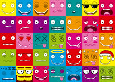 Vector Cartoon Set Of Thirty-five Different Faces Royalty Free Stock Image