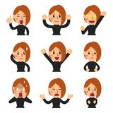 Vector cartoon set of woman faces showing different emotions. For design Stock Photos