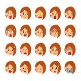 Vector cartoon set of a woman faces showing different emotions. For design Stock Image