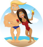 Vector cartoon sexy guy and girl on the beach. Vector cartoon sexy guy with roses in his hand and girl with cocktail on the beach in love Royalty Free Stock Photography