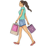 Vector Cartoon Shopping Girl Stock Image
