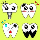 Vector cartoon sick tooth. Decay and destroy tooth. Stock Image