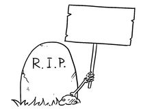 Vector Cartoon of Skeleton Arm is Sticking Out of The Grave Hold. Cartoon vector arm of the dead skeleton is sticking out of the grave tombstone holding empty Stock Image