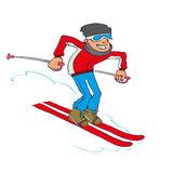 Vector Cartoon Skier Stock Images