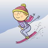 Vector cartoon skier. Cartoon smiling skier, winter sports, vector ilustration Stock Photo