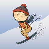 Vector cartoon skier Stock Image