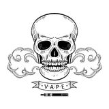 Vector cartoon skull vaping isolated. Vector sketch hand drawn skull smoking, vaping isolated illustration on a white background. Human skull with eyes and teeth Royalty Free Stock Photo