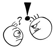Vector Cartoon of Small Man Threated by Big Dangerous Man. Cartoon vector of small man with question mark above his head threated endangered by big strong man Royalty Free Stock Photography