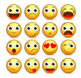 Vector cartoon smiley face set of yellow emoticons and icons. With funny facial expressions and emotions isolated in white background with reflections. Vector Royalty Free Stock Photos