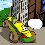 Vector cartoon smiling car with speech bubble Royalty Free Stock Image
