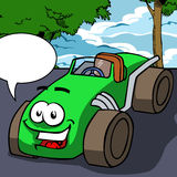 Vector cartoon smiling car with speech bubble Royalty Free Stock Photos