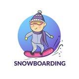 Vector cartoon snowboarder Stock Photography