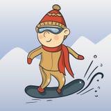 Vector cartoon snowboarder Stock Image
