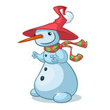 A vector cartoon snowman illustration. Christmas character. Royalty Free Stock Photos