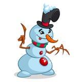 Vector cartoon snowman with wooden hands. Christmas character. Stock Photos