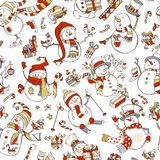 Seamless pattern of cute snowmen. Vector cartoon snowmen on white background. Snowman is singing. Snowman is skating. Snowman is skiing. Candy canes, gift boxes Royalty Free Stock Photo