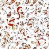 Seamless pattern of cute snowmen. Royalty Free Stock Photo
