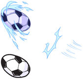 Vector Cartoon Soccer Ball Being Kicked Template. Vector cartoon clip art illustration template set for a custom character that plays soccer. 2 ball versions royalty free illustration