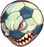 Vector Cartoon Soccer Ball with Mean Face and Sharp Teeth Royalty Free Stock Photo