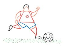 Vector cartoon soccer player man running and dribble ball on pit. Vector illustration cartoon soccer player man running and dribble ball on pitch Royalty Free Stock Image