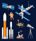 Vector cartoon space exploration set. Space rockets, astronomic. Al telescopes, satellite dish, astronaut, rover, moon-rover, international Space Station royalty free illustration