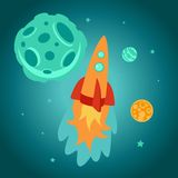 Vector cartoon space rocket Royalty Free Stock Images