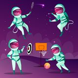 Vector cartoon spacemen playing games in cosmos royalty free illustration
