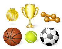 Vector cartoon sport equipment set. Vector flat sport equipment set. basketball, football or soccer, tennis ball ,dumbbells golden cup and first place medal Stock Image