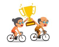 Vector cartoon sport senior couple riding bikes and holding big gold trophy cup award. For design vector illustration