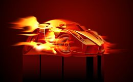 Vector cartoon sportcar. Vector cartoon muscle sportcar. Available ai-10  format separated by groups for easy edit. (Flame with transparency Royalty Free Stock Photography