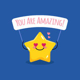 Vector cartoon star illustration with motivational and romantic quote. stock illustration