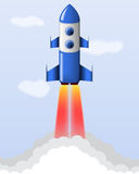 Vector cartoon steel rocket. Vector blue cartoon steel rocket flying on sky background Royalty Free Stock Photography