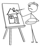 Vector Cartoon of Man Artist Painting Amateurish House on Canvas with Brush. Vector cartoon stick figure drawing conceptual illustration of self-important man or vector illustration