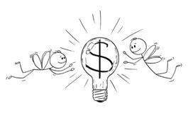 Vector Cartoon of Two Businessmen as Flies Attracted by Light Bulb with Dollar or Money Symbol and Flying Around